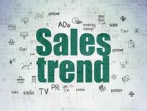 Concetto di vendita: Tendenza di vendite sul fondo della carta di dati di Digital Immagini Stock