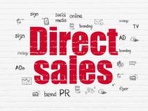 Concetto di vendita: Vendite dirette sul fondo della parete Fotografie Stock Libere da Diritti
