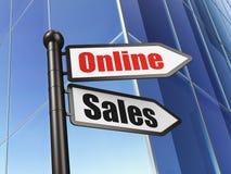 Concetto di vendita: vendite online del segno su costruzione Fotografia Stock