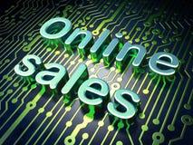 Concetto di vendita: Vendite online sul fondo del circuito Fotografie Stock