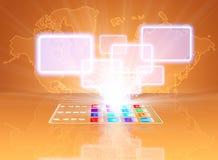 Concetto di vetro di scelta dello schermo attivabile al tatto del telefono Immagine Stock Libera da Diritti