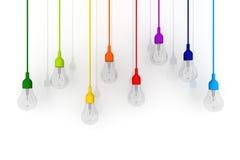 concetto di vetro variopinto della lampadina 3D su fondo bianco Fotografie Stock