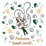 Concetto di vettore con il coniglietto, le carote, i riccioli ed i cuori svegli royalty illustrazione gratis