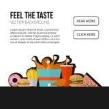 Concetto di vettore degli alimenti a rapida preparazione Patate fritte del pranzo, pollo, ciambella, pi Fotografie Stock Libere da Diritti
