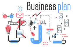 Concetto di vettore del business plan nella linea piana progettazione Immagini Stock