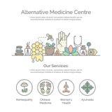 Concetto di vettore del centro della medicina alternativa Fotografie Stock Libere da Diritti
