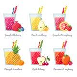 Concetto di vettore del frullato della frutta (succo) Elemento del menu per il caffè o il ristorante Progettazione piana moderna Fotografie Stock