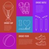 Concetto di vettore del gioco del cricket Fotografia Stock Libera da Diritti
