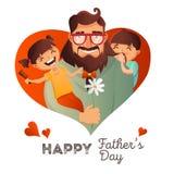 Concetto di vettore di Day del padre Illustrazione con la famiglia felice Uomo dei pantaloni a vita bassa ed i suoi bambini Carto Immagine Stock