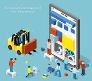 Concetto di vettore di sviluppo di progettazione di Smartphone UI nello stile isometrico piano 3d Immagine Stock Libera da Diritti