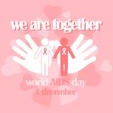 Concetto di vettore sulla Giornata mondiale contro l'AIDS Aiuta la consapevolezza illustrazione vettoriale