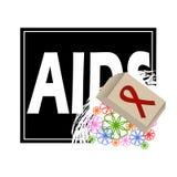 Concetto di vettore sulla Giornata mondiale contro l'AIDS Aiuta la consapevolezza Vector il manifesto circa cura e la comunicazio illustrazione di stock