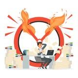 Concetto di vettore di termine Responsabile e caos di ufficio all'illustrazione del lavoro illustrazione di stock