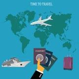 Concetto di viaggio, bagaglio, bagagli, apps, illustrazione di vettore nella progettazione piana per i siti Web Fotografie Stock
