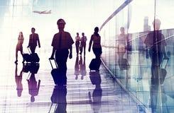 Concetto di viaggio d'affari della squadra della cabina di affari dell'aeroporto di viaggio fotografia stock