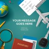 Concetto di viaggio del modello, di viaggio e di vacanza illustrazione vettoriale