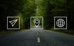 Concetto di viaggio del posto di viaggio di viaggio di navigazione di posizione Fotografia Stock