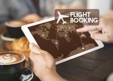 Concetto di viaggio della destinazione di prenotazione del biglietto di volo immagine stock libera da diritti