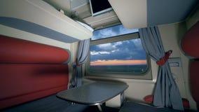 Concetto di viaggio della ferrovia Compartimento ammobiliato del coupé in un treno nel moto viaggiando dal concetto del treno archivi video