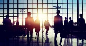 Concetto di viaggio di affari di viaggio del terminale di aeroporto internazionale fotografia stock libera da diritti