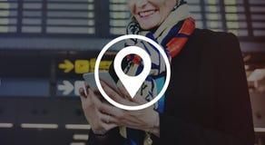 Concetto di viaggio di Pin Marker Travel Destination Location Immagine Stock Libera da Diritti