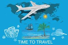 Concetto di viaggio, di turismo e di vacanze, schizzo, illustrazione di vettore Fotografia Stock