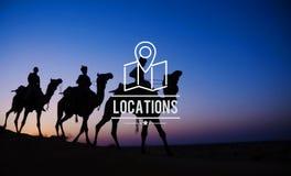 Concetto di viaggio di vacanza di navigazione della destinazione di posizioni immagine stock
