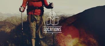 Concetto di viaggio di vacanza di navigazione della destinazione di posizioni fotografia stock