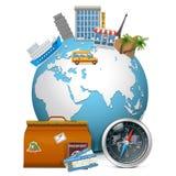 Concetto di viaggio di vettore con il globo Immagine Stock Libera da Diritti