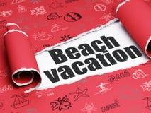 Concetto di viaggio: vacanza nera della spiaggia del testo nell'ambito del pezzo di carta lacerata Immagini Stock