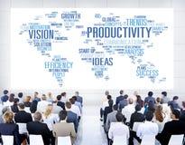 Concetto di visione del mondo degli affari di strategia di missione di produttività Immagini Stock Libere da Diritti