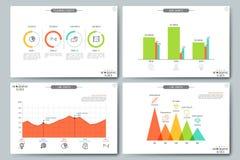 Concetto di visualizzazione di dati finanziari Pagine con il diagramma, grafico lineare e gli elementi del grafico di pianificazi illustrazione di stock