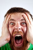 Concetto di vittoria - grido dell'uomo stupito felice Fotografie Stock Libere da Diritti