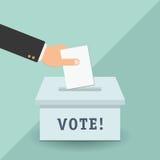 Concetto di voto nello stile piano - passi mettere la carta nell'urna Immagine Stock Libera da Diritti