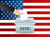 Concetto di voto nello stile piano - passi mettere la carta nell'urna Bandierina Immagini Stock