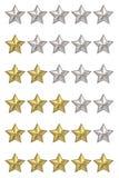 Concetto di voto Valutazione delle cinque stelle L'insieme di 3D rende Fotografia Stock
