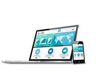 Concetto di web design con il modello moderno dei dispositivi Fotografie Stock Libere da Diritti