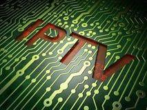 Concetto di web design di SEO: IPTV sul fondo del circuito Immagine Stock Libera da Diritti