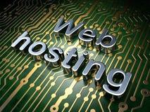 Concetto di web design di SEO: Web hosting sul fondo del circuito Immagine Stock