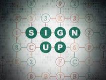 Concetto di web design: Firmi su sul fondo della carta di dati di Digital Immagine Stock