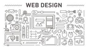 Concetto di web design, linea illustrazione di vettore di stile illustrazione vettoriale