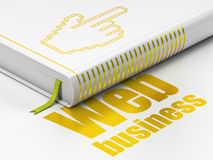Concetto di web design: prenoti il cursore del topo, affare di web su fondo bianco Immagini Stock Libere da Diritti