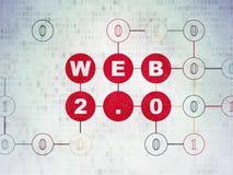Concetto di web design: Web 2 0 sul fondo della carta di dati di Digital Fotografia Stock