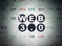 Concetto di web design: Web 3 0 sul fondo della carta di dati di Digital Fotografia Stock