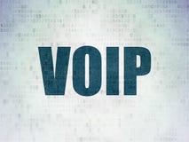 Concetto di web design: VOIP sul fondo della carta di dati di Digital Fotografie Stock Libere da Diritti