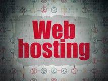 Concetto di web design: Web hosting sulla carta di Digital Fotografia Stock