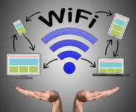 Concetto di Wifi continuo dalle mani aperte fotografia stock
