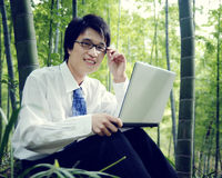 Concetto di Working Outdoors Nature dell'uomo d'affari Immagine Stock Libera da Diritti