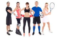 Concetto differente di sport - giovani in spotswear isolati sopra fotografia stock libera da diritti