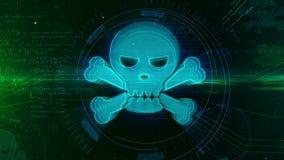 Concetto digitale cyber dell'icona del cranio e di crimine illustrazione di stock